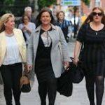 Councillor Gaye Fagan, Sinn Féin Mary Lou McDonald and Councillor Janine Boylan arriving at Government Buildings this evening
