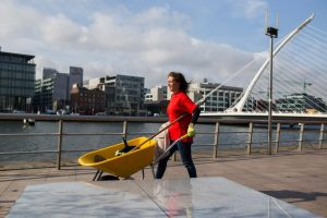 AIB IFSC Manager Margaret Ludden Hard At Work Planting At North Wall Quay.