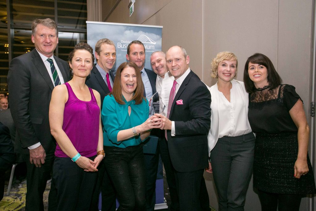 The team from Hibernia REIT take home the Docklands Enterprise & Development Award