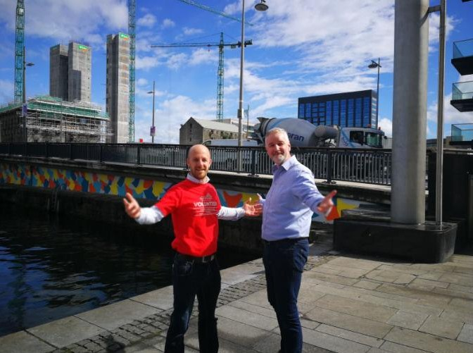 Brendan Hilliard from principal sponsor AIB and Alan Robinson CEO of Docklands Business Forum in front of the new mural