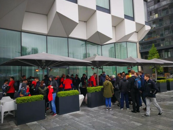 Volunteers gathering at The Marker Hotel for tea and coffee